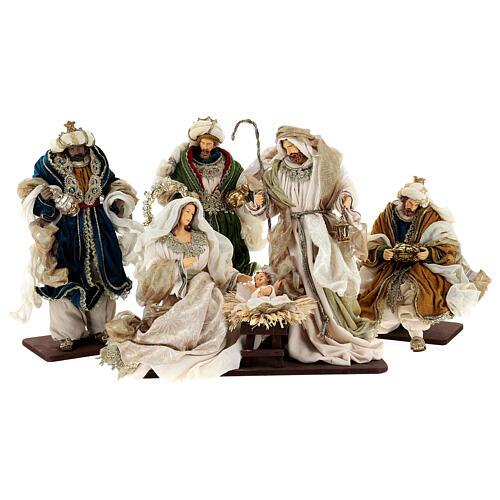 Natività 6 pezzi resina e tessuto stile veneziano 40 cm  1