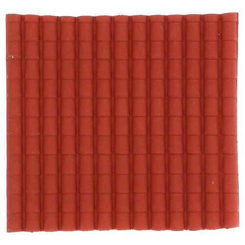 Tetto presepe fai da te con tegole di colore rosso miniature