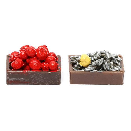 Pareja de cajas de fruta, hortalizas y pescado para el pesebre 1