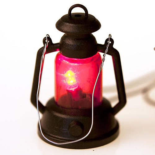Nativity set accessory, battery-operated lantern 4cm 3
