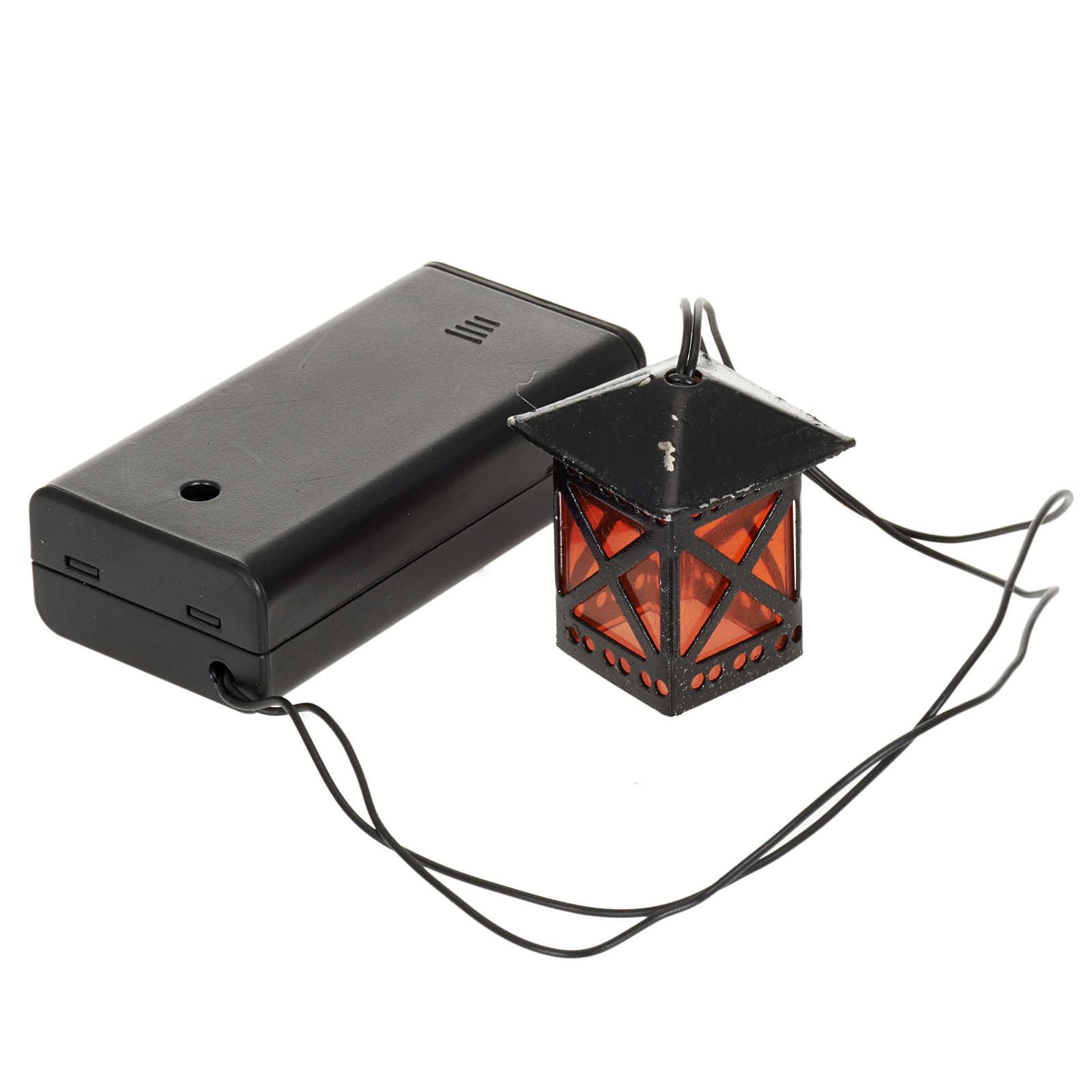 Lanterne en verre rouge avec lumière, piles 4