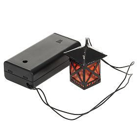 Lanterne en verre rouge avec lumière, piles s1