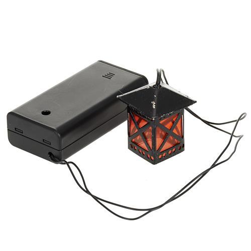 Lanterne en verre rouge avec lumière, piles 1