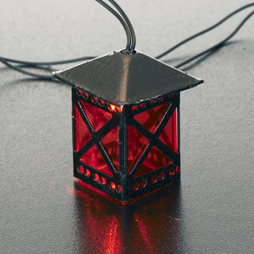 Lanterne en verre rouge avec lumière, piles 2