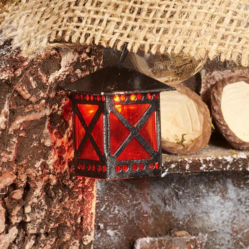 Nativity set accessory, battery-operated red lantern 3