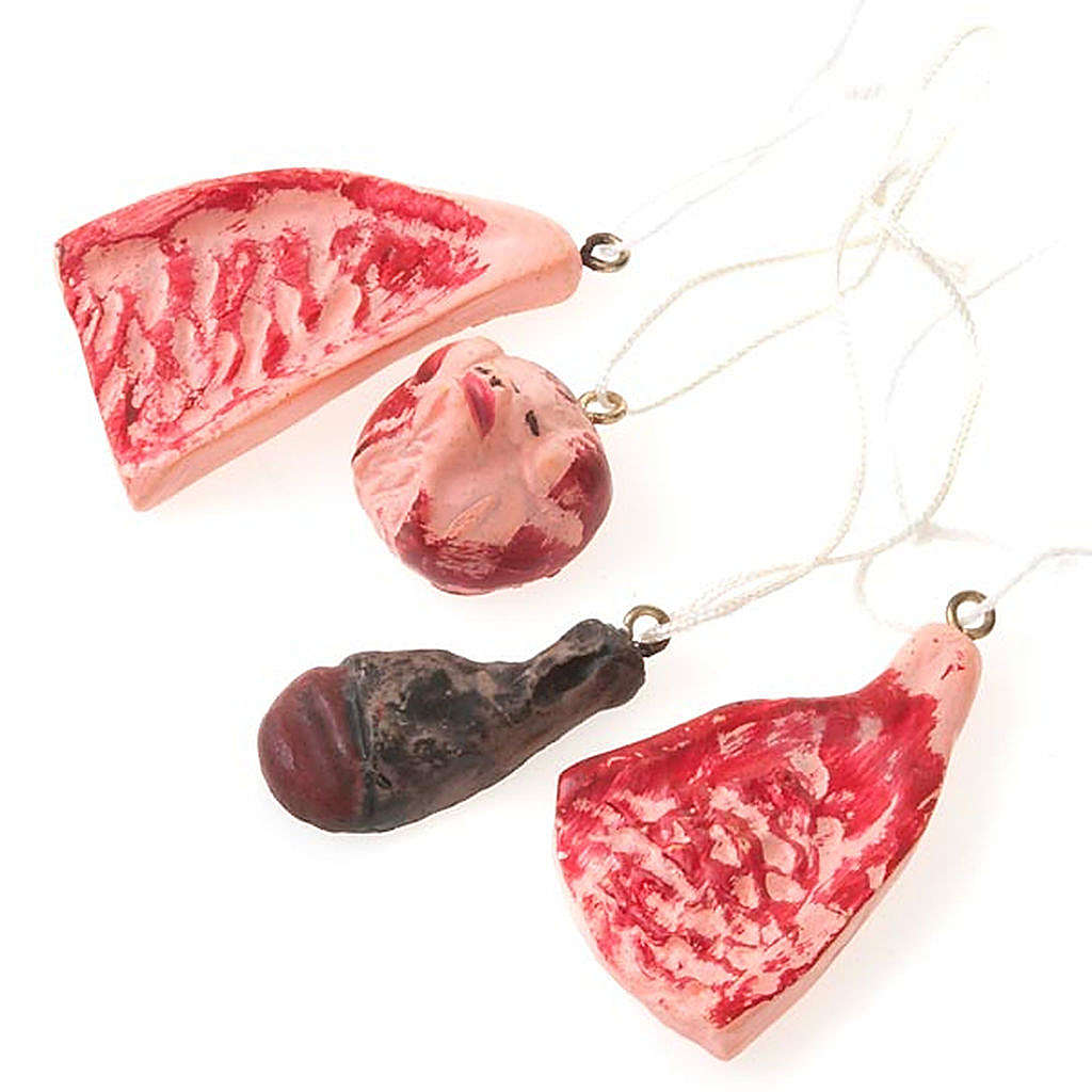 Nativity set accessory, butcher's meat 4pcs 4