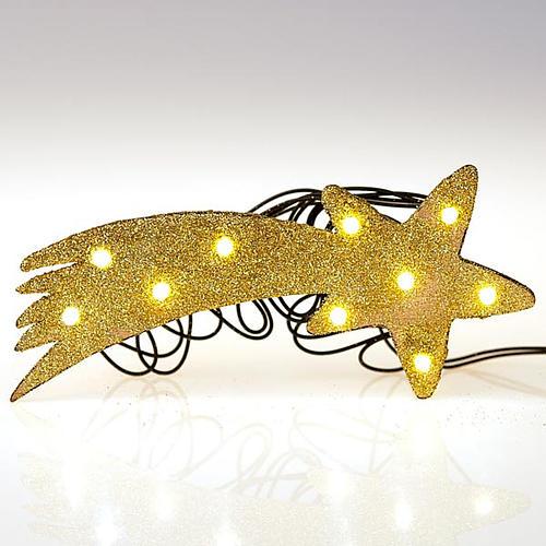 Nativity scene accessory, LED battery golden comet star 3