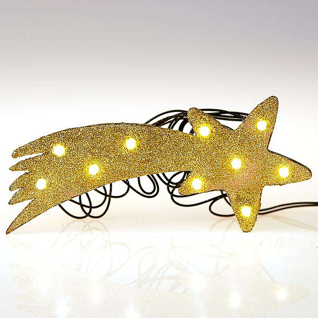 Nativity scene accessory, LED battery golden comet star 4
