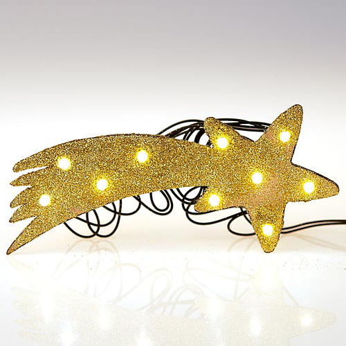 Nativity scene accessory, LED battery golden comet star 3