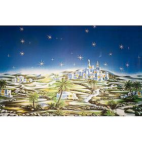 Sfondo presepe: borgo arabo cielo stellato s1