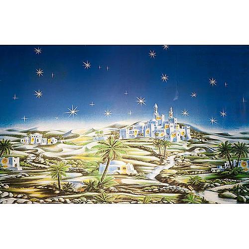 Sfondo presepe: borgo arabo cielo stellato | vendita online su HOLYART