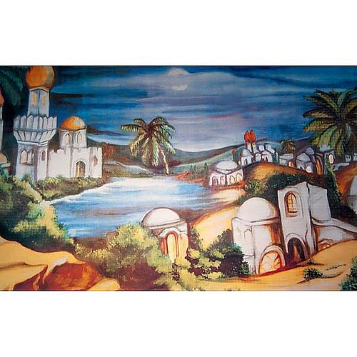 Nativity scene accessory, Arabic-style village backdrop 1