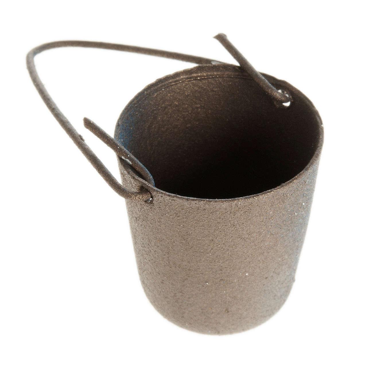 Seau en métal avec manche décoratif crèche noel 4