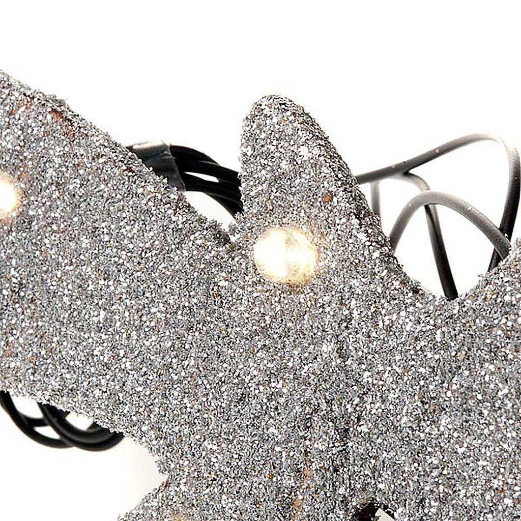 Estrella de belén plateada 10 LED pilas 4