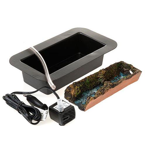 Cascata presepe cm 17 con pompa acqua 2.5W e ruscello 1