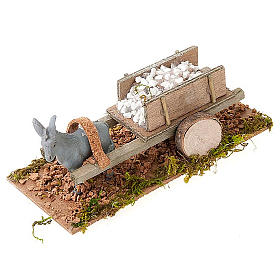 Donkey with cart carrying stones, Nativity Scene 8cm s1