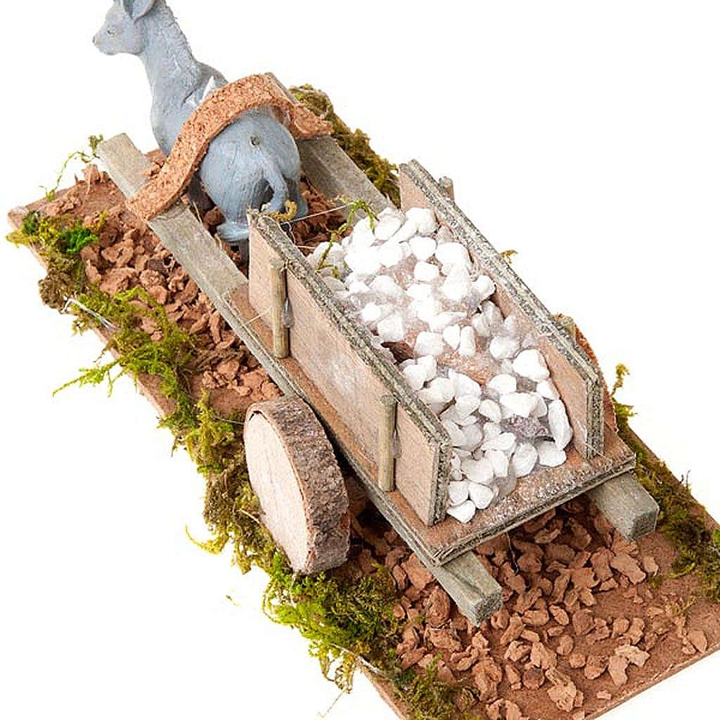 Asinello con carretto carico di pietre bianche presepe 8 cm 3
