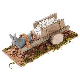 Asinello con carretto carico di pietre bianche presepe 8 cm s1