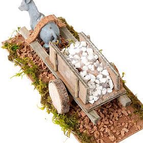 Asinello con carretto carico di pietre bianche presepe 8 cm s2