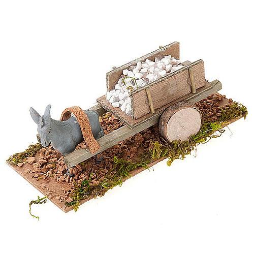 Asinello con carretto carico di pietre bianche presepe 8 cm 1