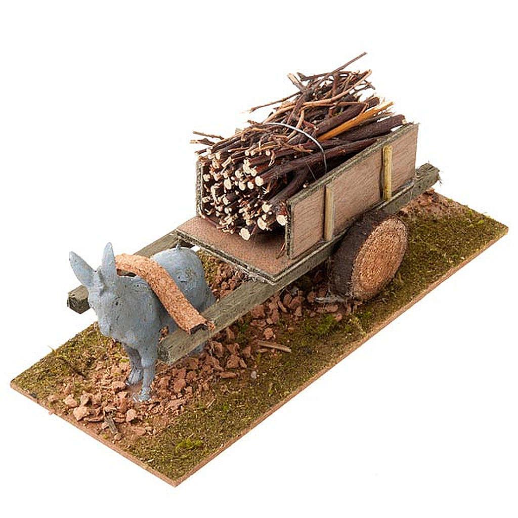 Donkey with cart and bundles of stick, Nativity Scene 8cm 3