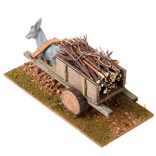 Donkey with cart and bundles of stick, Nativity Scene 8cm 2