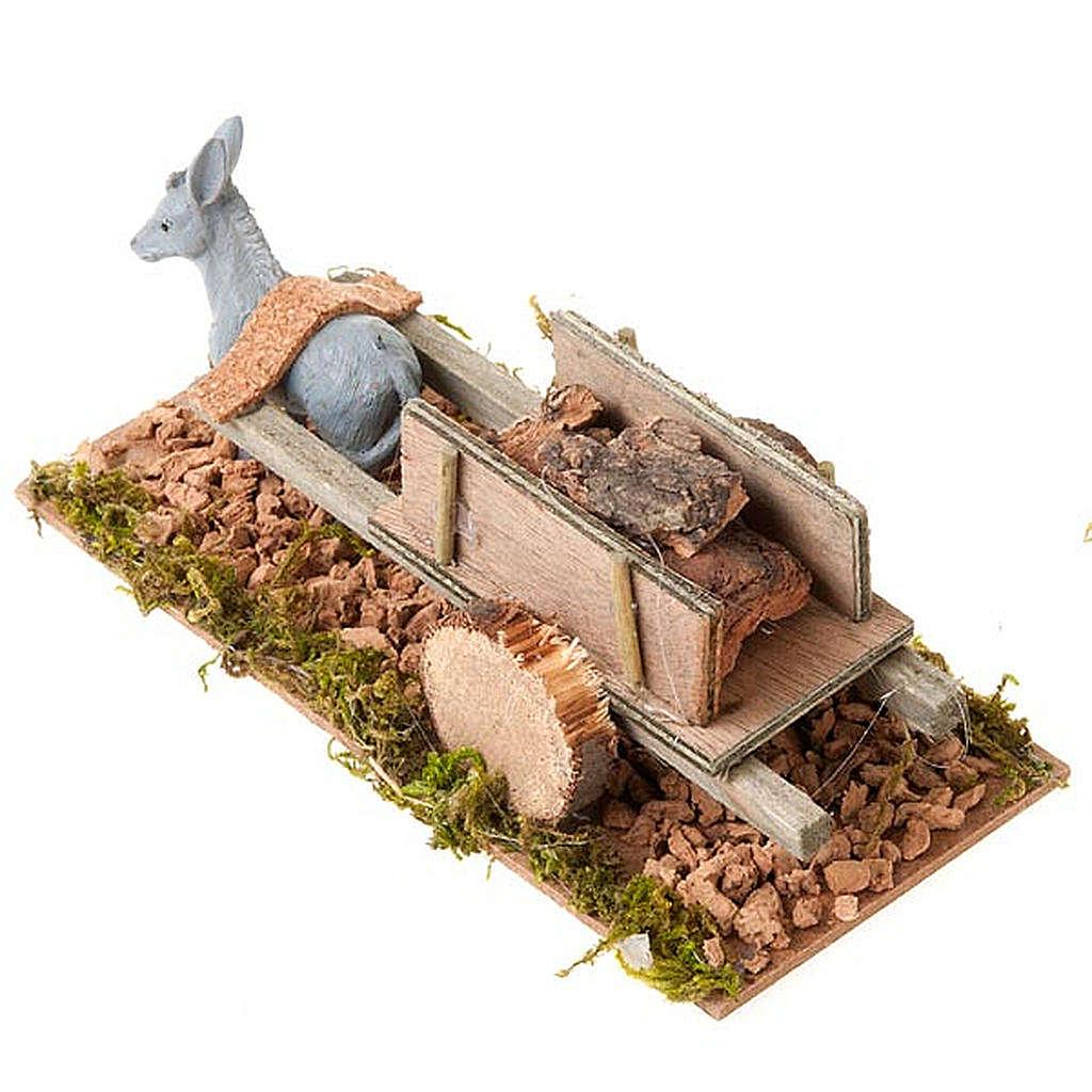 Burro con carrito cargado de madera 8 cm 3