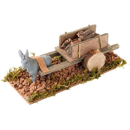 Burro con carrito cargado de madera 8 cm 1