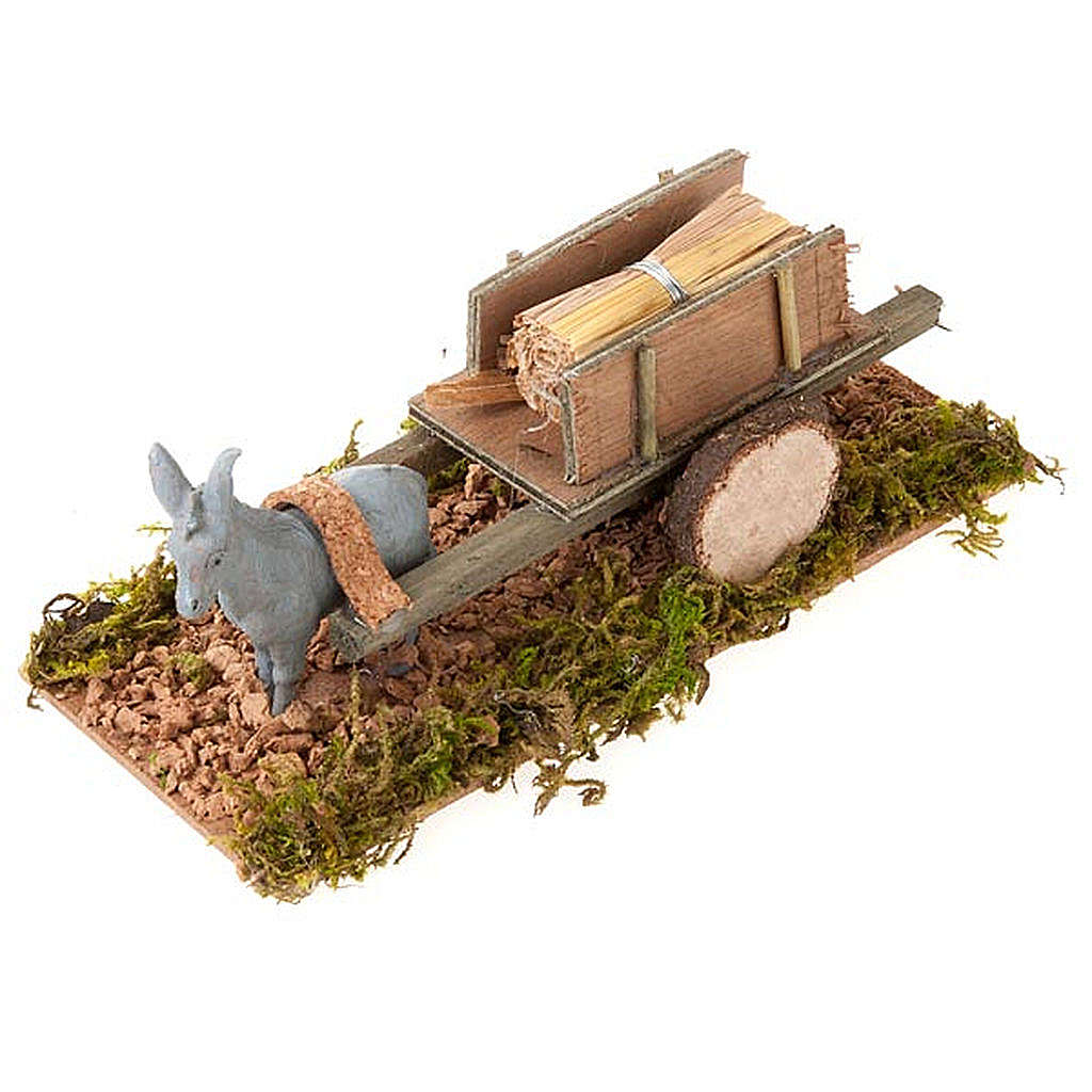 Donkey with cart and straw, Nativity Scene 8cm 3