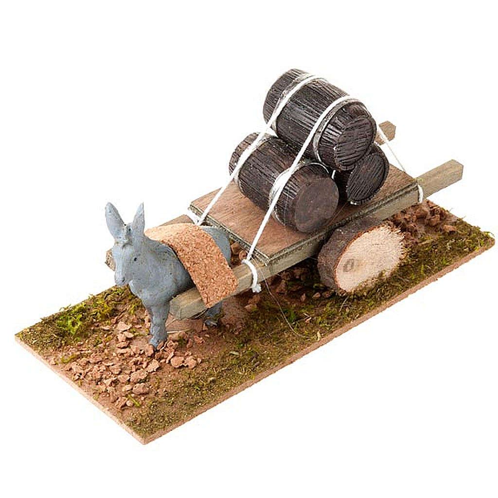 Burro con carrito cargado de barriles 8 cm 3