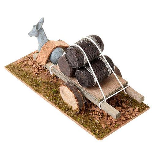Burro con carrito cargado de barriles 8 cm 2