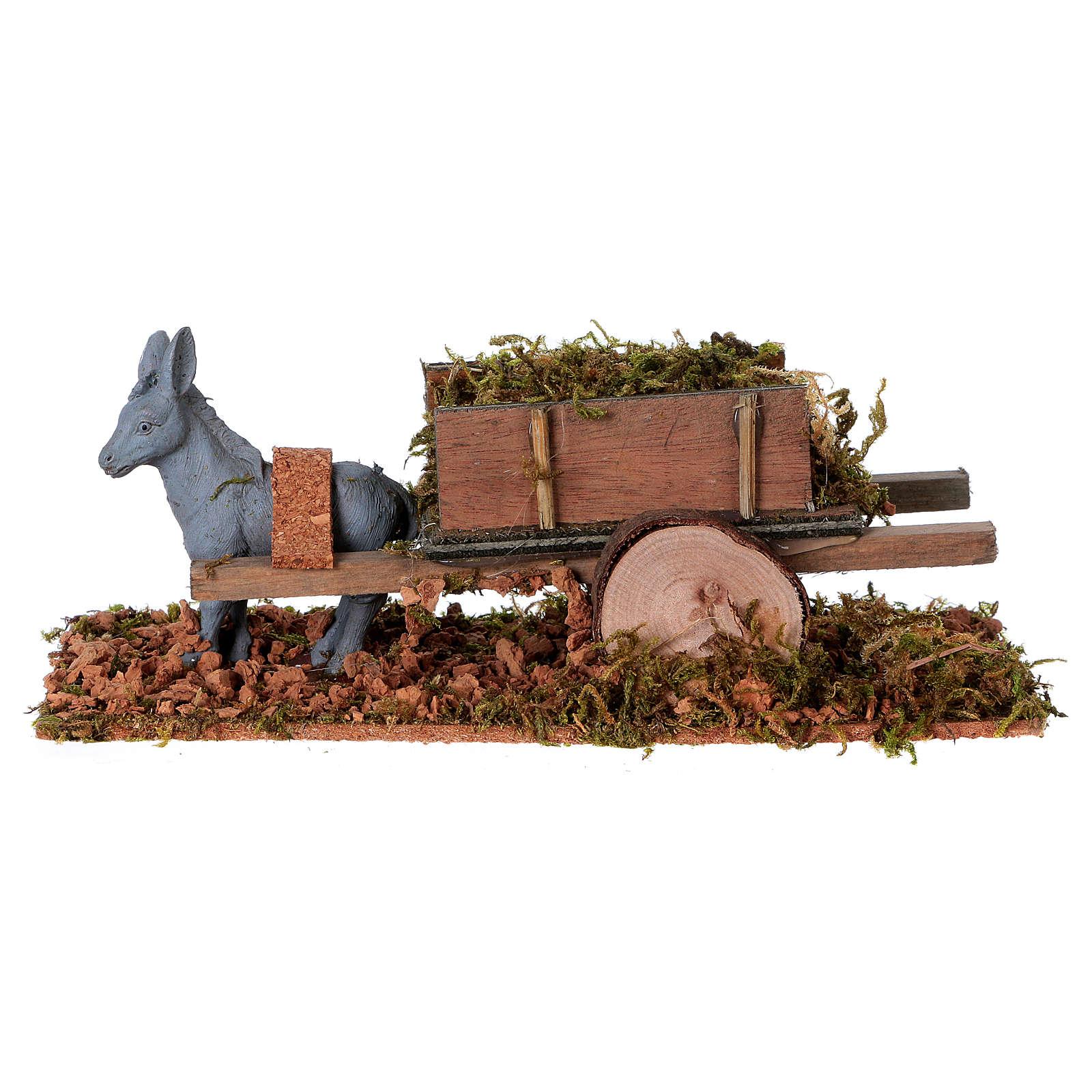 Asinello con carretto carico di erba presepe 8 cm 3