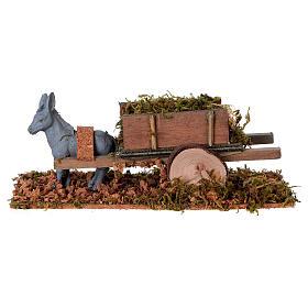 Asinello con carretto carico di erba presepe 8 cm s1