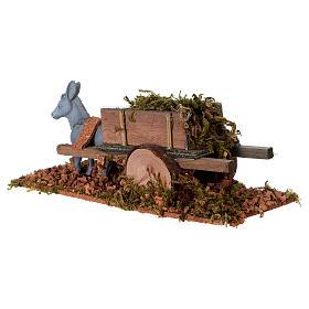 Asinello con carretto carico di erba presepe 8 cm s3