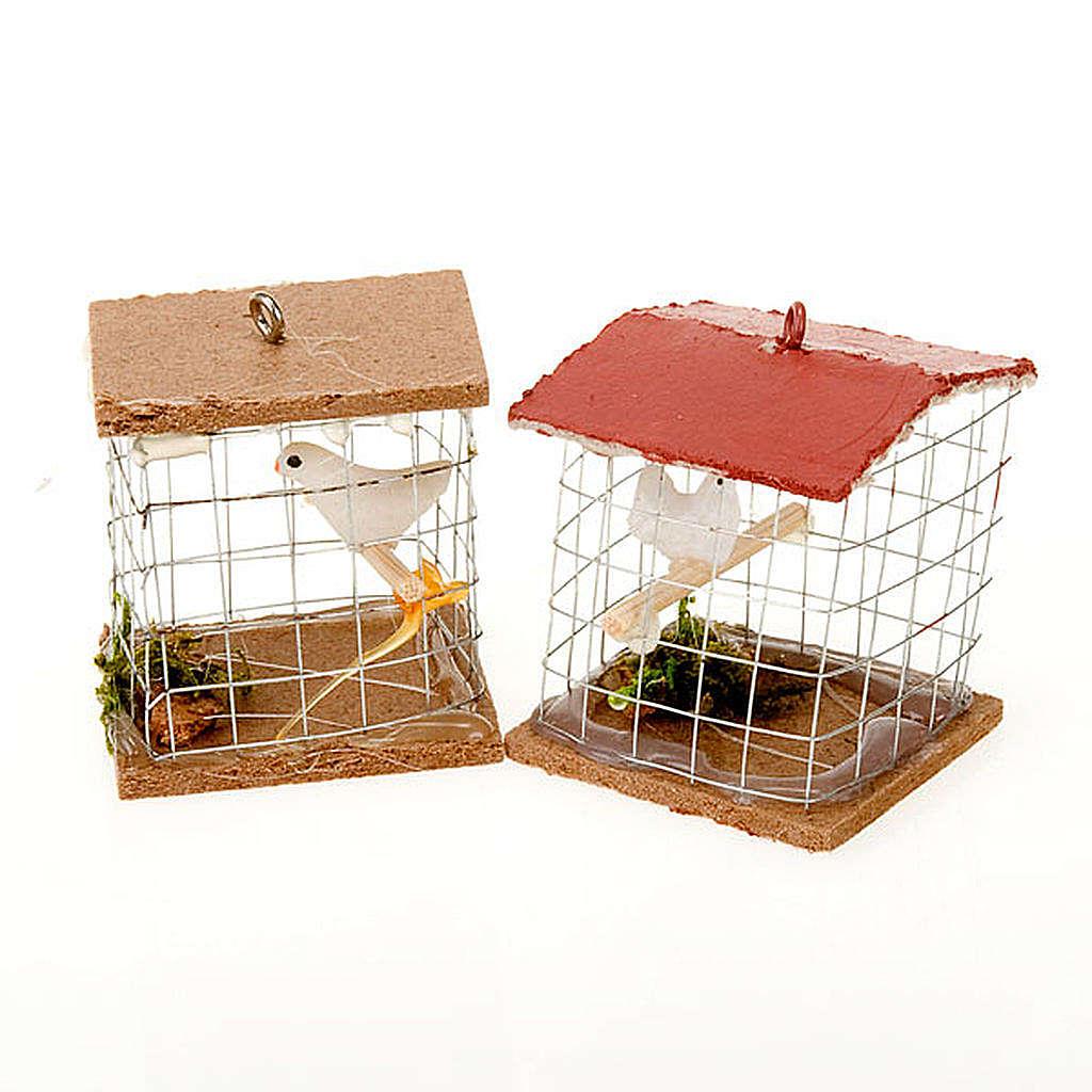 Cage avec oiseau, pour crèche 10cm 3