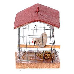 Animaux pour la crèche: Cage avec oiseau, pour crèche 10cm