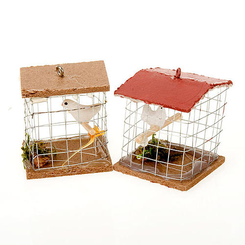 Cage avec oiseau, pour crèche 10cm 1