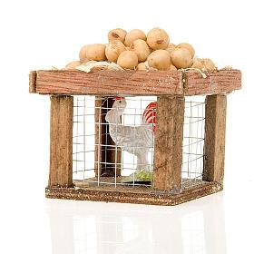 Animaux pour la crèche: Cage avec poule et oeufs pour crèche 12cm