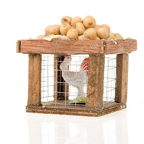 Cage avec poule et oeufs pour crèche 12cm 1
