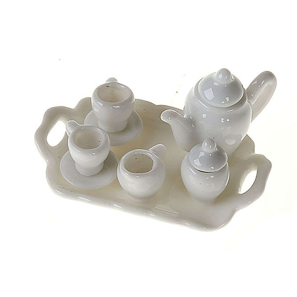 Nativity accessory, Tea set in white porcelain 4