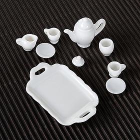 Serviço de café em porcelana branca bricolagem presépio s2
