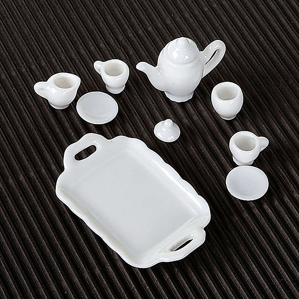 Nativity accessory, Tea set in white porcelain 4