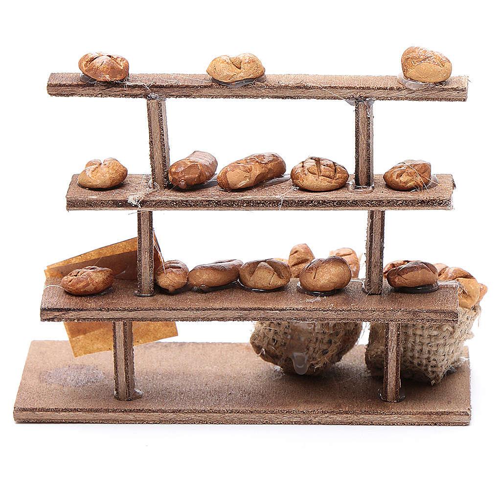 Mesa con pan para el belén madera y terracota 4