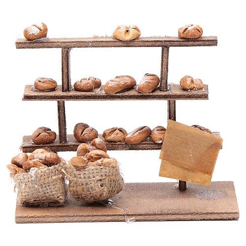 Mesa con pan para el belén madera y terracota 1
