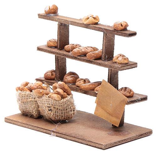 Mesa con pan para el belén madera y terracota 2