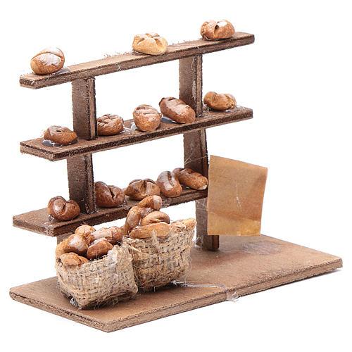 Mesa con pan para el belén madera y terracota 3