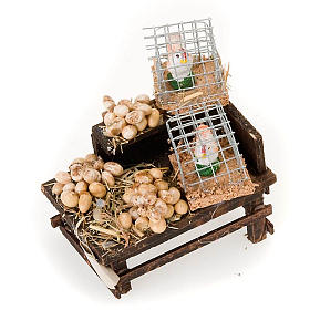 Neapolitan Nativity Scene: Neapolitan set accessory stand with eggs and hens terracotta
