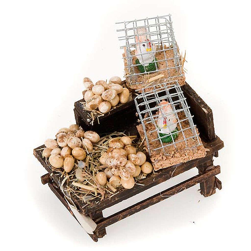 Mesa con huevos y gallinas de terracota 4
