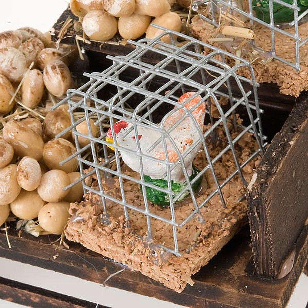 Banchetto legno uova e galline in terracotta presepe 4