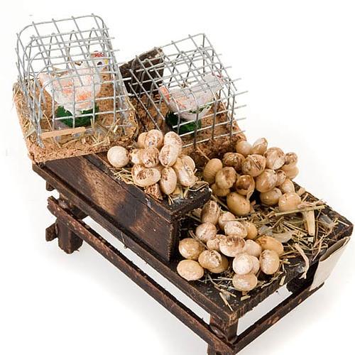 Banchetto legno uova e galline in terracotta presepe 3